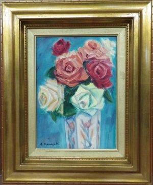 画像1: 川崎安佐子 「薔薇」 油彩 F4号