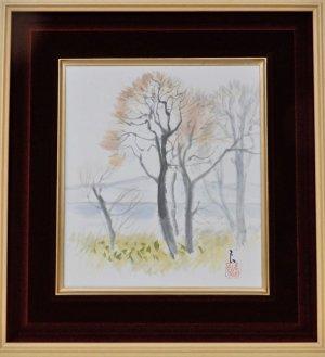画像1: 田中良 『湖畔』 水彩画 色紙