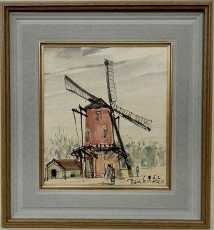 画像1: 鶴岡義雄 「風車(仮題)」 水彩 色紙 1962年作